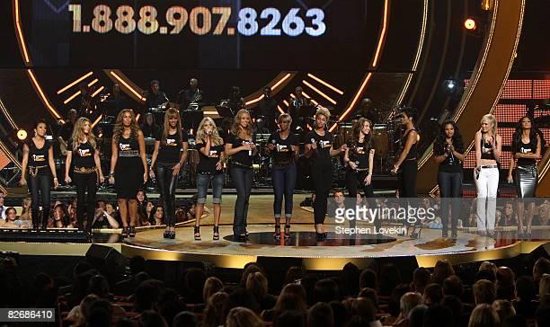 Singers Keyshia Cole Leona Lewis Ciara Carrie Underwood Mariah Carey Mary J Blige Beyonce Miley Cyrus Rihanna Ashanti and Natasha Bedingfield perform...