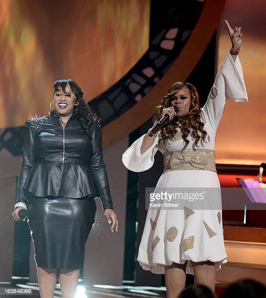 Singers Kierra Sheard and Karen Clark Sheard perform onstage during the BET Celebration of Gospel 2013 at Orpheum Theatre on March 16 2013 in Los...