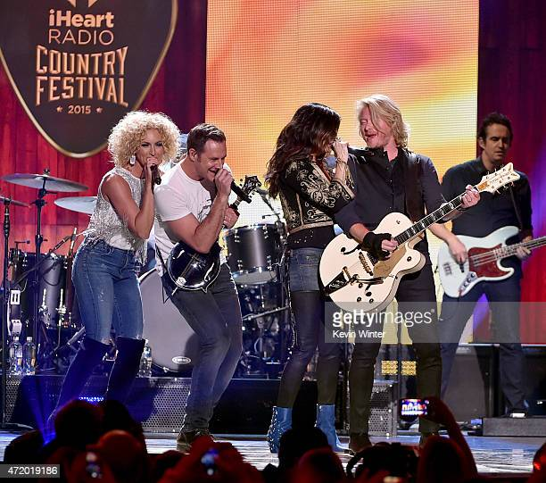 Singers Kimberly Schlapman Jimi Westbrook Karen Fairchild and Philip Sweet of Little Big Town perform onstage during the 2015 iHeartRadio Country...