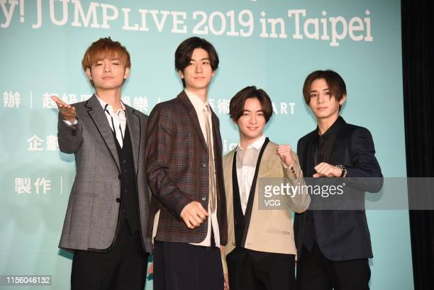 Singers Kota Yabu Yuto Nakajima Yuri Chinen and Ryosuke Yamada of Japanese boy group Hey Say Jump attend the press conference of Hey Say Jump Live...