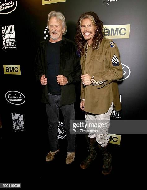 Singers Kris Kristofferson and Steven Tyler attend Imagine John Lennon 75th birthday concert at Madison Square Garden on December 5 2015 in New York...