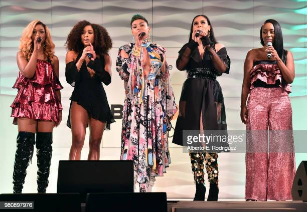 Singers Kristal Lyndriette Brienna DeVlugt, Gabby Carreiro, Kristal Lyndriette and Ashly Williams of June's Diary perform onstage at the BETHer...