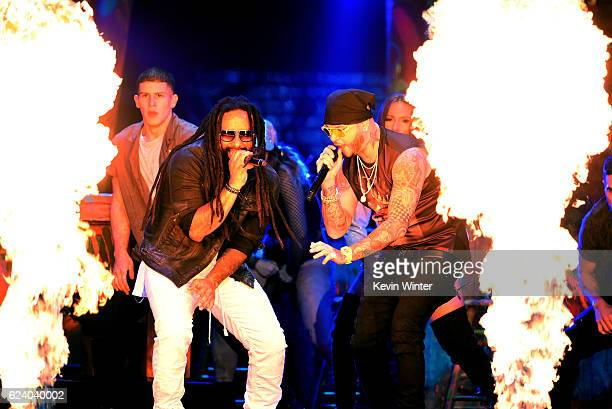 Singers KyMani Marley and Farruko perform onstage during The 17th Annual Latin Grammy Awards at TMobile Arena on November 17 2016 in Las Vegas Nevada