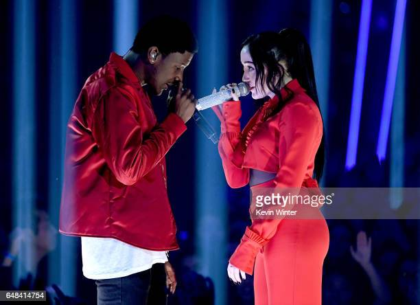 Singers Labrinth and Noah Cyrus perform onstage at the 2017 iHeartRadio Music Awards which broadcast live on Turner's TBS TNT and truTV at The Forum...