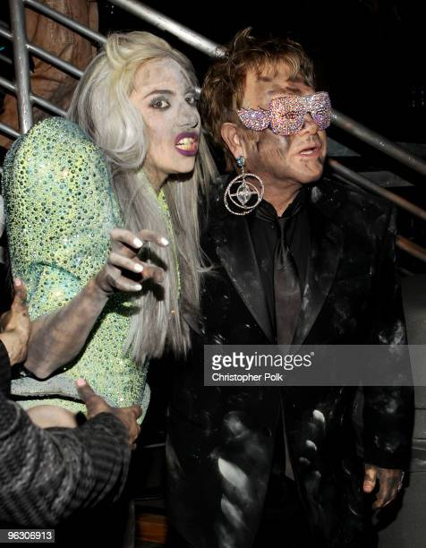 Singers Lady Gaga and Elton John backstage during the 52nd Annual GRAMMY Awards held at Staples Center on January 31 2010 in Los Angeles California