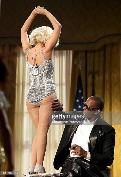 Singers Lady Gaga and R Kelly perform onstage during the 2013 American Music Awards at Nokia Theatre LA Live on November 24 2013 in Los Angeles...