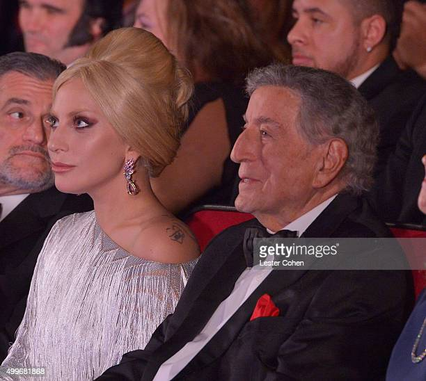 Singers Lady Gaga and Tony Bennett attend Sinatra 100 An AllStar GRAMMY Concert celebrating the late Frank Sinatra's 100th birthday at the Encore...