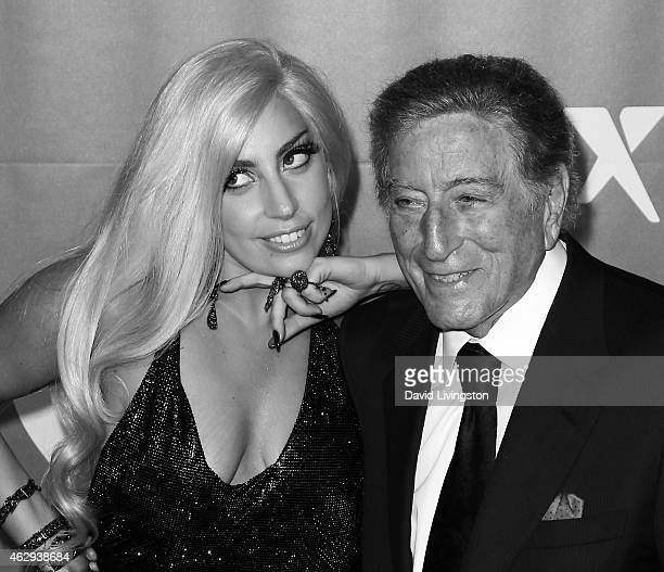 Singers Lady Gaga and Tony Bennett attend the 2015 MusiCares Person of the Year Gala honoring Bob Dylan at the Los Angeles Convention Center on...