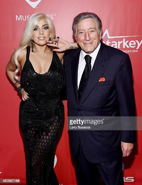 Singers Lady Gaga and Tony Bennett attend the 25th anniversary MusiCares 2015 Person Of The Year Gala honoring Bob Dylan at the Los Angeles...
