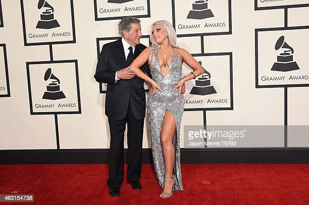 Singers Lady Gaga and Tony Bennett attend The 57th Annual GRAMMY Awards at the STAPLES Center on February 8 2015 in Los Angeles California
