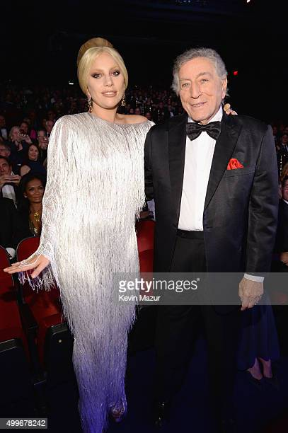 Singers Lady Gaga and Tony Bennett attend the 'Sinatra 100 An AllStar GRAMMY Concert' celebrating the late Frank Sinatra's 100th birthday at the...