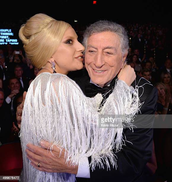 Singers Lady Gaga and Tony Bennett attend the Sinatra 100 An AllStar GRAMMY Concert celebrating the late Frank Sinatra's 100th birthday at the Encore...