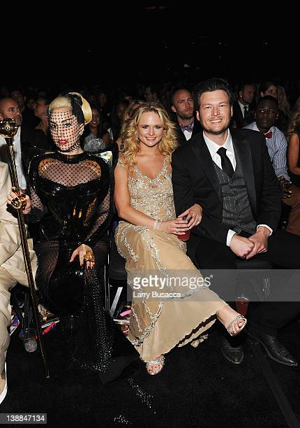 Singers Lady Gaga Miranda Lambert and Blake Shelton attend the 54th Annual GRAMMY Awards held at Staples Center on February 12 2012 in Los Angeles...