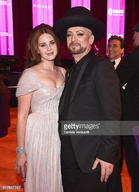 Singers Lana Del Rey wearing Bulgari and Boy George attend Bulgari at the 24th Annual Elton John AIDS Foundation's Oscar Viewing Party at The City of...