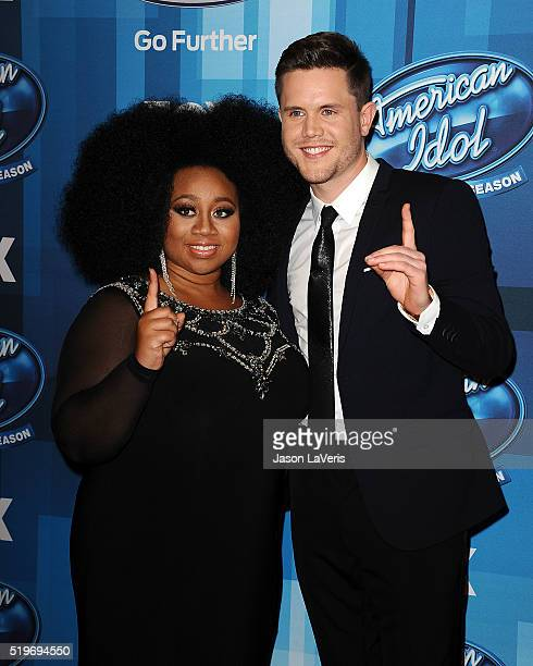 """Singers La'Porsha Renae and Trent Harmon attend FOX's """"American Idol"""" finale for the farewell season at Dolby Theatre on April 7, 2016 in Hollywood,..."""