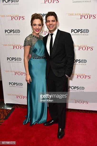 Singers Laura Osnes and Jeremy Jordanattend the New York Pops 33rd Birthday Gala Dinner Dance at Mandarin Oriental New York on May 2 2016 in New York...
