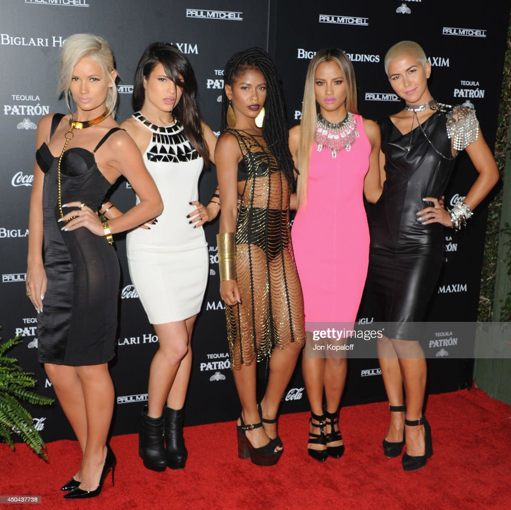 Singers Lauren Bennett, Natasha Slayton, Simone Battle, Emmalyn Estrada and Paula Van Oppen of G.R.L. attend at the MAXIM Hot 100 Celebration Event at Pacific Design Center on June 10, 2014 in West Hollywood, California.