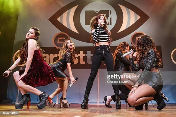 Singers Lauren Jauregui, Ally Brooke, Camila Cabello, Dinah Jane Hansen and Normani Koredi of Fifth Harmony perform at MTV Artist to Watch kickoff...