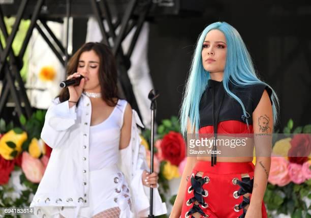 Singers Lauren Jauregui and Halsey perform on NBC's 'Today' at Rockefeller Plaza on June 9 2017 in New York City