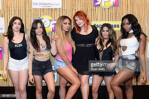 Singers Lauren Jauregui Camila Cabello and Dinah Jane of Fifth Harmony CBS Radio's Heather Collins singers Ally Brooke and Normani Kordei of Fifth...