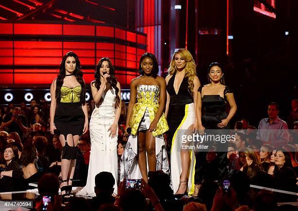 Singers Lauren Jauregui, Camila Cabello, Normani Hamilton, Dinah Jane Hansen and Ally Brooke of Fifth Harmony introduce a performance by Nicki Minaj...