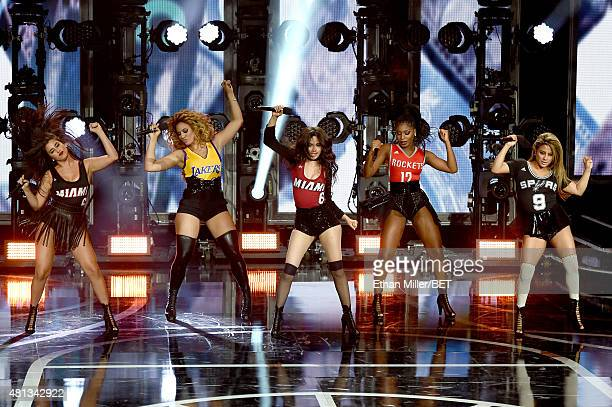Singers Lauren Jauregui Dinah Jane Hansen Camila Cabello Normani Kordei and Ally Brooke of Fifth Harmony perform onstage during The Players' Awards...