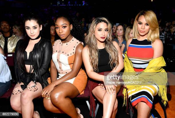 Singers Lauren Jauregui Normani Kordei Ally Brooke and Dinah Jane of Fifth Harmony in the audience at Nickelodeon's 2017 Kids' Choice Awards at USC...