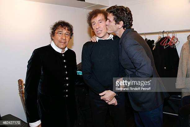 Singers Laurent Voulzy Alain Souchon and Marc Lavoine attend the 'Vivement Dimanche' French TV Show at Pavillon Gabriel on January 28 2015 in Paris...