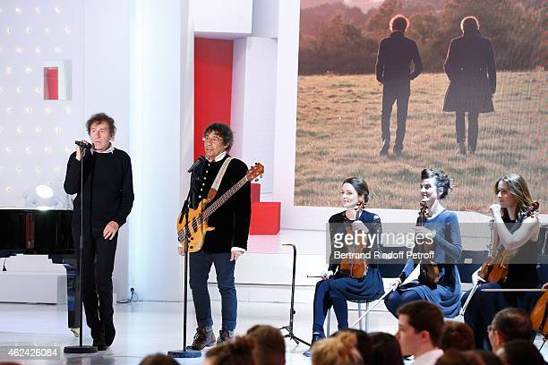 Singers Laurent Voulzy and Alain Souchon perform and present their Show during the 'Vivement Dimanche' French TV Show at Pavillon Gabriel on January...