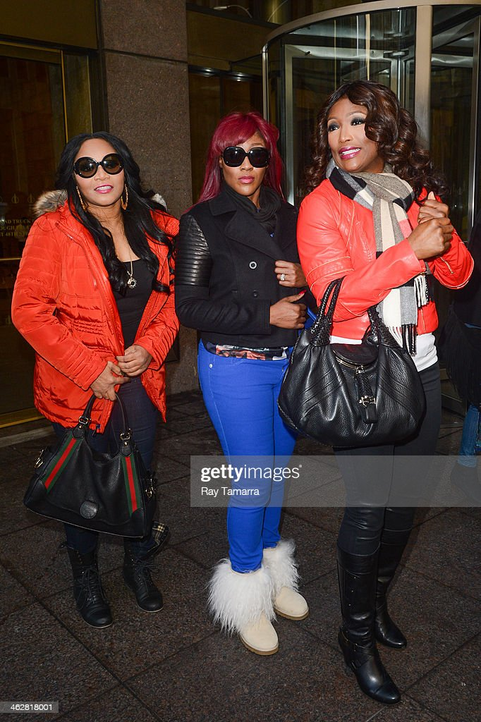 Singers Leanne 'Lelee' Lyons, Cheryl Elizabeth 'Coko' Clemons, and Tamara 'Taj' Johnson-George, of SWV, enter the Sirius XM Studios on January 15, 2014 in New York City.