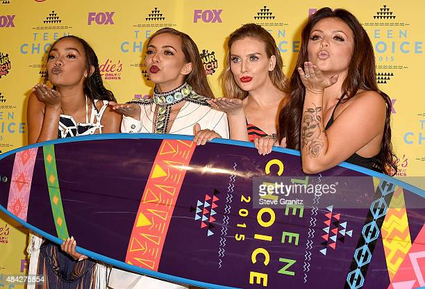 Singers LeighAnne Pinnock Jade Thirlwall Perrie Edwards and Jesy Nelson of Little Mix winners of the Choice Music Breakout Artist award pose in the...