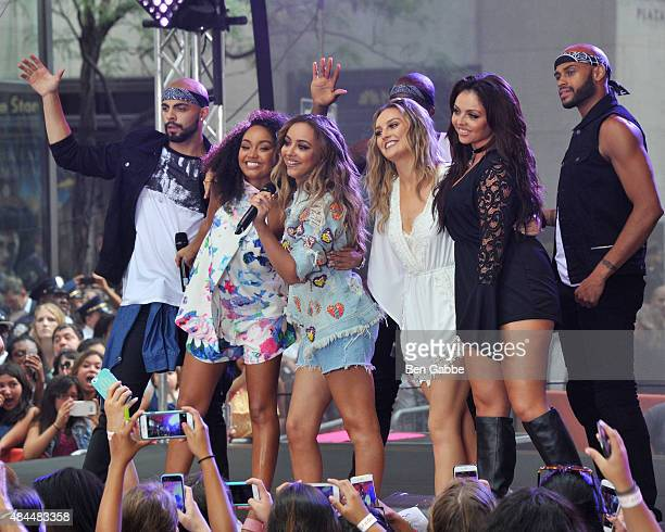 Singers LeighAnne Pinnock Jade Thirlwall Perrie Edwards and Jesy Nelson of Little Mix perform on NBC's Today at Rockefeller Plaza on August 19 2015...