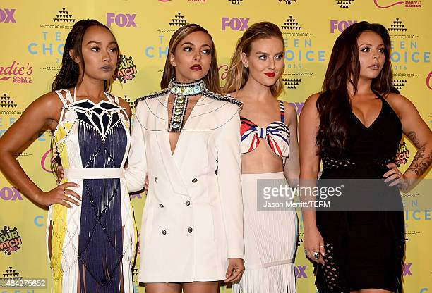 Singers LeighAnne Pinnock Perrie Edwards Jade Thirlwall and Jesy Nelson of Little Mix winners of the Choice Music Breakout Artist award pose in the...