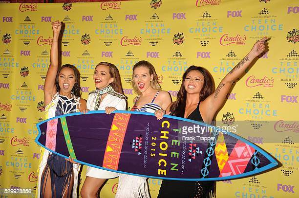 Singers LeighAnne Pinnock Perrie Edwards Jade Thirlwall and Jesy Nelson of 'Little Mix' winners of the Choice Music Breakout Artist award pose in the...