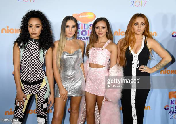 Singers LeighAnne Pinnock Perrie Edwards Jade Thirlwall and Jesy Nelson of singing group Little Mix at Nickelodeon's 2017 Kids' Choice Awards at USC...
