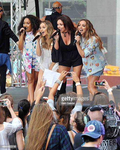 Singers LeighAnne Pinnock Perrie Edwards Jesy Nelson and Jade Thirlwall of Little Mix perform on NBC's 'Today' at Rockefeller Plaza on August 19 2015...