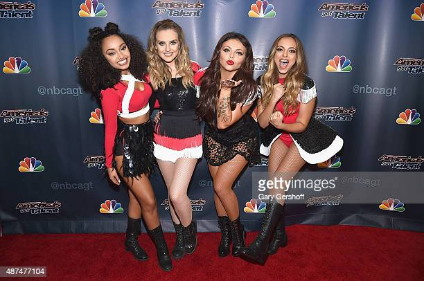 Singers LeighAnne Pinnock Perrie Edwards Jesy Nelson and Jade Thirwall of Little Mix attend America's Got Talent post show red carpet at Radio City...