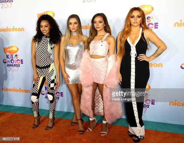 Singers LeighAnne Pinnock Perrie Edwards Jesy Nelson and Jade Thirlwall of Little Mix attend Nickelodeon's 2017 Kids' Choice Awards at USC Galen...