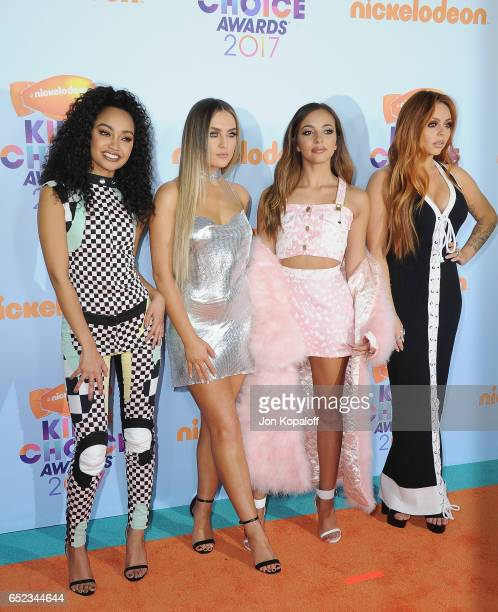 Singers LeighAnne Pinnock Perrie Edwards Jesy Nelson and Jade Thirlwall of Little Mix arrive at the Nickelodeon's 2017 Kids' Choice Awards at USC...