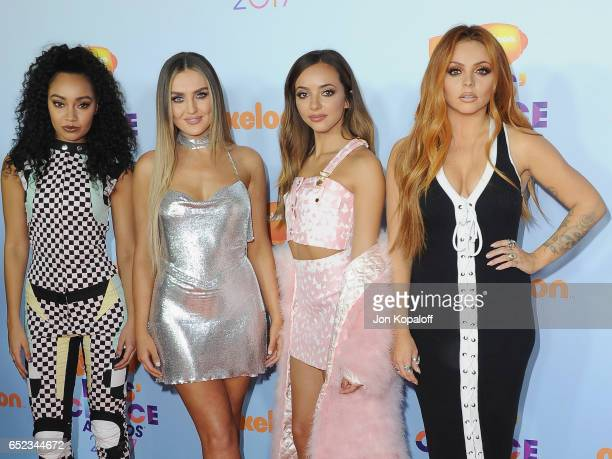 Singers Leigh-Anne Pinnock, Perrie Edwards, Jesy Nelson, and Jade Thirlwall of Little Mix arrive at the Nickelodeon's 2017 Kids' Choice Awards at USC...