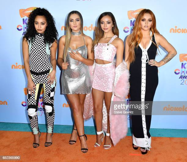 Singers LeighAnne Pinnock Perrie Edwards Jesy Nelson and Jade Thirlwall of Little Mix arrives at the Nickelodeon's 2017 Kids' Choice Awards at USC...