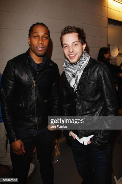 LONDON DECEMBER 10 Singers Lemar and James Morrison pose backstage at Capital FM's Jingle Bell Ball held at the 02 Arena Docklands on December 10...