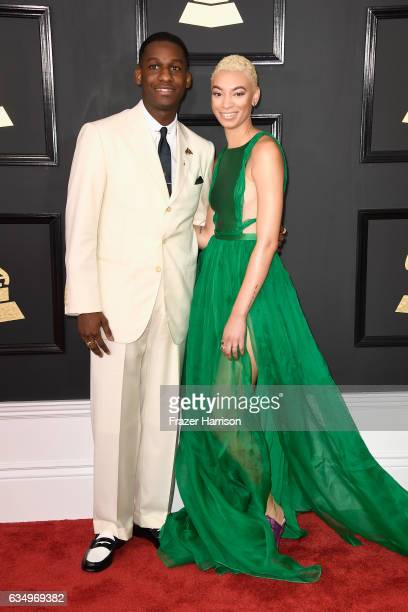 Singers Leon Bridges and Brittni Jessie attend The 59th GRAMMY Awards at STAPLES Center on February 12 2017 in Los Angeles California