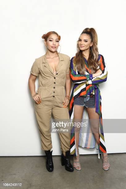 Singers Leslie Grace and Farina pose for a portrait during her new single release 'Lunes a Jueves' on November 2 2018 in Wynwood in Miami Florida