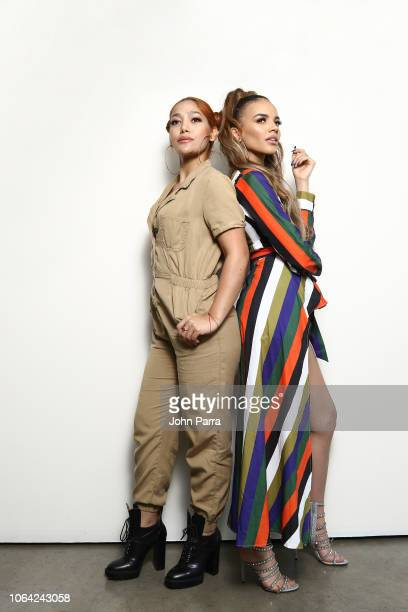 Singers Leslie Grace and Farina posesfor a portrait during their new single release 'Lunes a Jueves' on November 2 2018 in Wynwood in Miami Florida