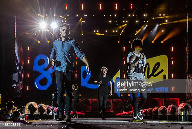 Singers Liam Payne Harry Styles Niall Horan and Louis Tomlinson of One Direction perform during On the Road Again Tour 2015 at Lincoln Financial...