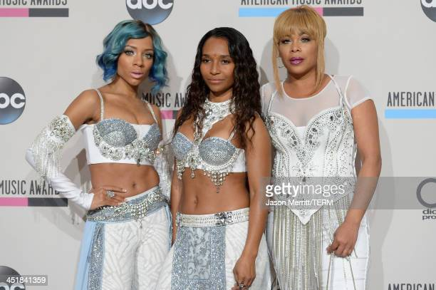 Singers Lil Mama and TLC's Tionne 'TBoz' Watkins and Rozonda 'Chilli' Thomas pose in the press room during the 2013 American Music Awards at Nokia...