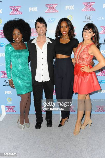 Singers Lillie McCloud Jeff Gutt Kelly Rowland and Rachel Potter arrive at 'The X Factor' Finalists Party at SLS Hotel on November 4 2013 in Los...