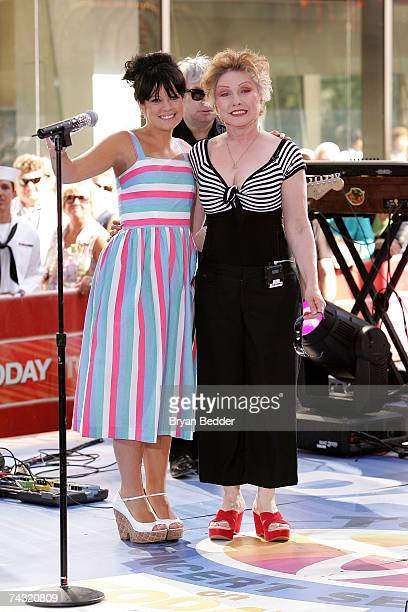 Singers Lily Allen and Deborah Harry of Blondie perform on the NBC Today Show summer concert series in Rockefeller Center on May 25 2007 in New York...