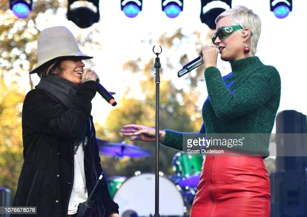 Singers Linda Perry and Katy Perry peform onstage during the One Love Malibu Festival at King Gillette Ranch on December 02 2018 in Malibu California